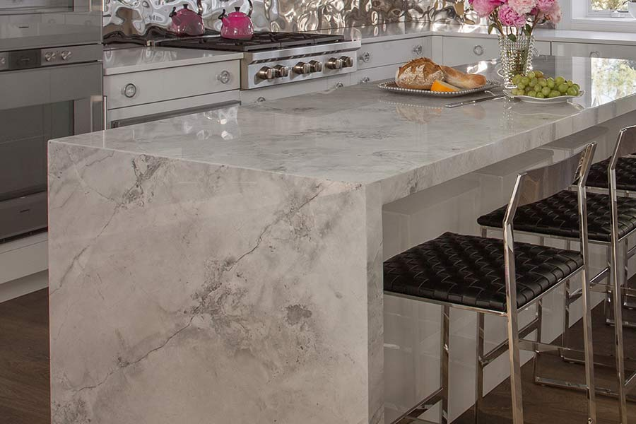White Carrara Granite Kitchen