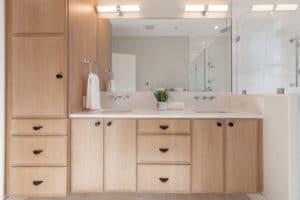 warm wood vanity